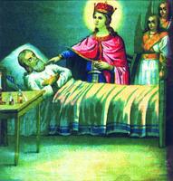 Исцеление священника. Хромолитография. Нач. ХХ в.